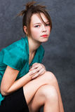 Girl in turquoise blouse Royalty Free Stock Photos