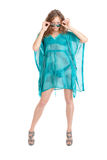 Girl in a turquoise dress Royalty Free Stock Images