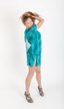 Girl in a turquoise dress Stock Photos
