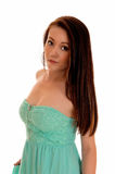 Girl in turquoise dress. Stock Photography