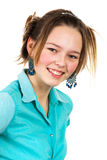Girl in the turquoise shirt Royalty Free Stock Photo