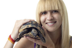 Girl with Turtle Stock Images
