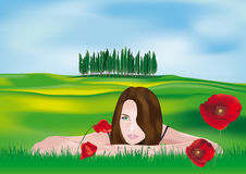 Girl in Tuscan Landscape Stock Images