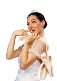 Girl in tutu 3. White girl in tutu on a white background stock image