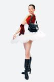 Girl in tutu 5. White girl in tutu on a grey background royalty free stock images