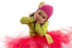 Girl in tutu and hat with butterfly Royalty Free Stock Images