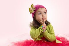 Girl in tutu and hat with butterfly Royalty Free Stock Photo