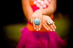 Girl Tutu Pink Orange Turquoise Rings Hands Stock Photography