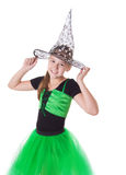 Girl in tutu skirt and halloween hat Stock Photos