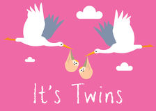 Girl Twins Birth Illustration Royalty Free Stock Photography