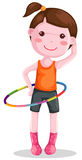 Girl twirling hula hoop Royalty Free Stock Images