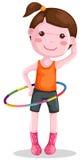 Girl twirling hula hoop. Illustration of isolated a girl twirling hula hoop on white background Royalty Free Stock Images