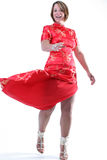 Girl twirling red dress Royalty Free Stock Photo