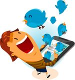 Girl on Twitter Bird Stock Photo