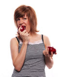 The girl with two apple Royalty Free Stock Image
