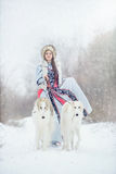 Girl with two greyhounds walking in the winter. Beautiful girl with two greyhounds walking in the winter Royalty Free Stock Photo