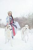 Girl with two greyhounds walking in the winter. Beautiful girl with two greyhounds walking in the winter Stock Photo