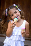 Girl with two ice cream Stock Photo