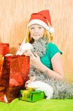 Girl with two pet rabbits Royalty Free Stock Image