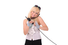 Girl with two phones, white background Royalty Free Stock Photos