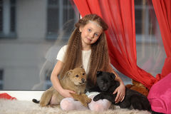 Girl with two puppies Stock Images