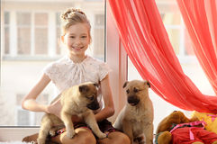 Girl with two puppies Stock Image