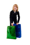 Girl With Two Shopping Bags. Royalty Free Stock Photos