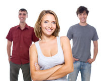 The girl and two young men Stock Images