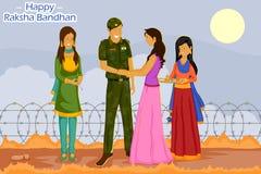 Girl tying Rakhi to soldier on Raksha Bandhan. In vector Stock Image