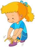 Girl tying shoelaces on white background. Illustration Stock Photo