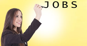 Girl typing jobs Stock Photo