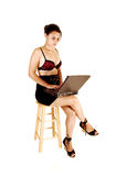 Girl typing on laptop. Royalty Free Stock Photos