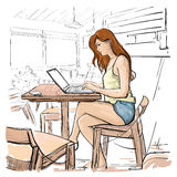Girl Typing On Laptop Computer, Sketch Young Woman Chatting Online Sitting On Chair Living Room Interior. Vector Illustration Royalty Free Stock Photos