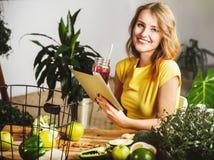 Girl Typing Recipe Stock Photo