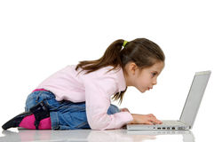 Girl typing  to computer Stock Photo