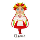 Girl In Ukraine Country National Clothes, Wearing Wreath Of Flowera And Ribbon Headdress Traditional For The Nation Stock Photography