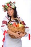 Girl in Ukrainian costume Royalty Free Stock Images