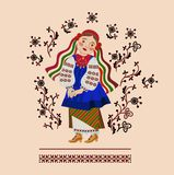 Girl in a Ukrainian costume. On a background of an ornament Stock Illustration