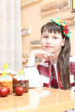 Girl in Ukrainian embroidery stock images