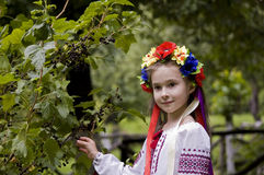 Girl in ukrainian national costume posing outdoors Royalty Free Stock Images