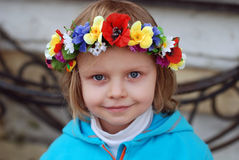 Girl in ukrainian wreath Royalty Free Stock Photos