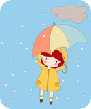 Girl with umbrella. Illustration of  girl with umbrella Royalty Free Stock Images