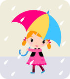 Girl with umbrella. Illustration of a baby girl with red umbrella Royalty Free Stock Photography