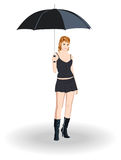 Girl with umbrella. On white background Stock Photography