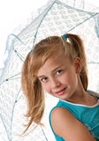 A girl with an umbrella. Portrait in the studio on a white background Royalty Free Stock Photography