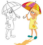 Girl and umbrella. The girl and an umbrella from the sun. Color and outline illustrations Royalty Free Stock Photo