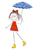 Girl with umbrella. Cute girl with umbrella isolated on white Royalty Free Stock Photography