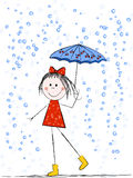 Girl with umbrella. Happy girl with an umbrella, walking in the rain Royalty Free Stock Photography