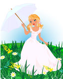 Girl with umbrella. Blond girl with umbrella on meadow Royalty Free Stock Photo
