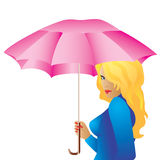 The girl with the umbrella. Beautiful girl with an umbrella on a white background Royalty Free Stock Photos